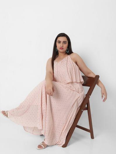 Pink Pleated Foil Print Maxi Dress