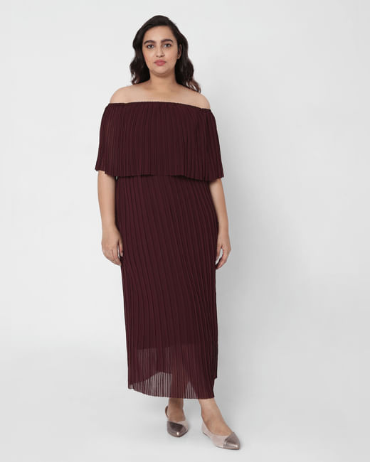 Maroon Pleated Off Shoulder Maxi Dress