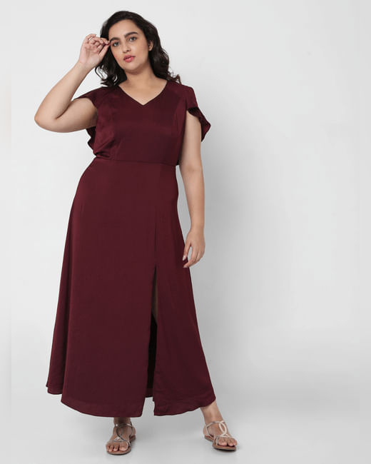 Maroon Flounce Overlay Maxi Dress