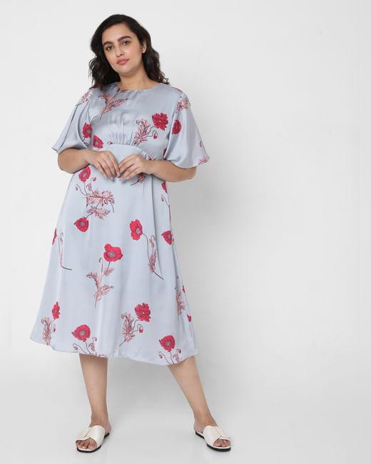 Grey Floral Fit & Flare Dress