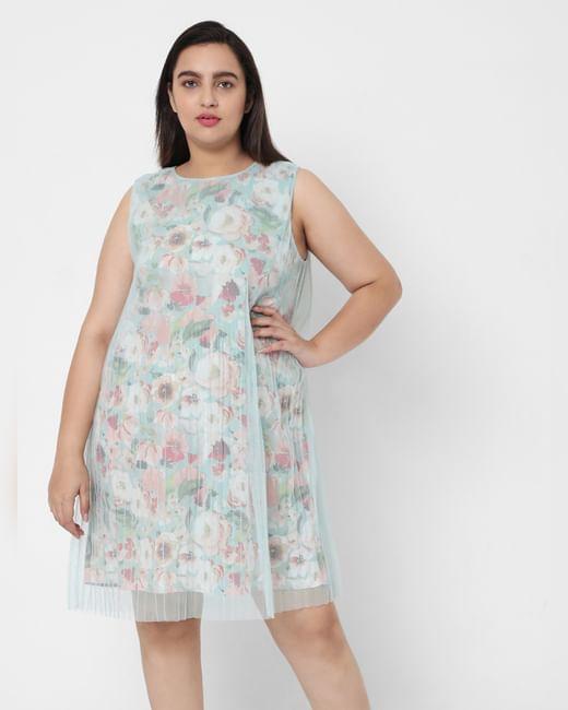Green Floral Mesh Layered Dress