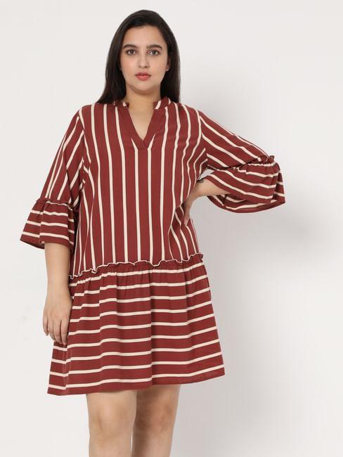 Brown Organic Cotton Striped Dress