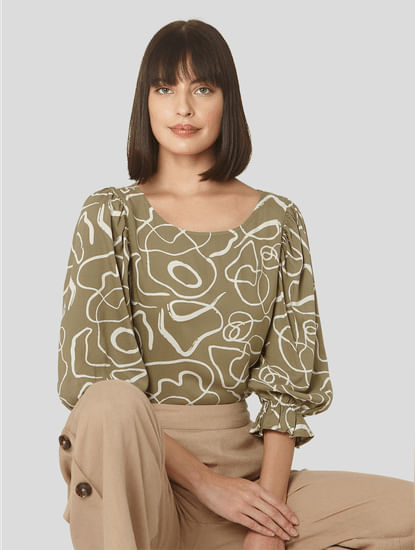 Green Abstract Print Top
