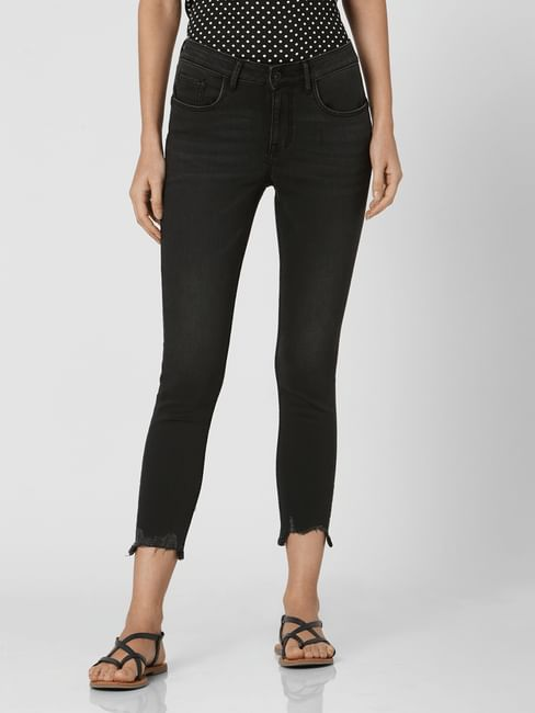 Black Mid Rise Cropped Skinny Jeans