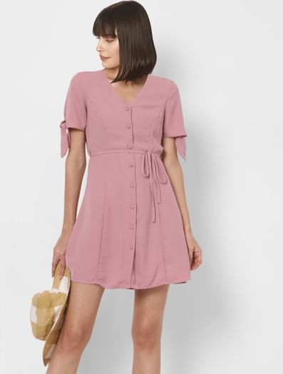 Lilac Button Down Fit & Flare Dress