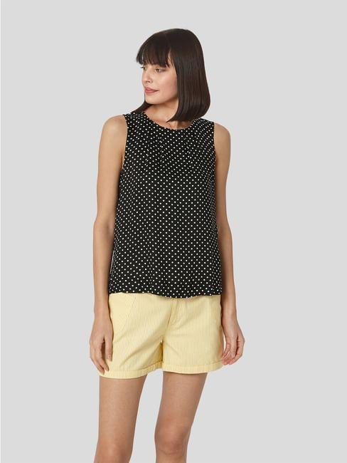 Black Polka Dot Pleated Neck Top