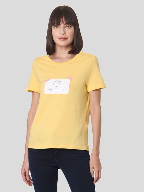 Yellow Organic Cotton Post-It Print T-shirt
