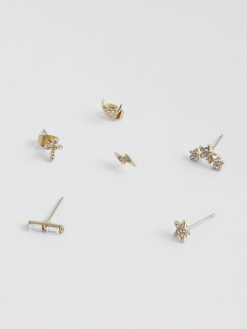 Golden Stud Earrings - Pack of 6