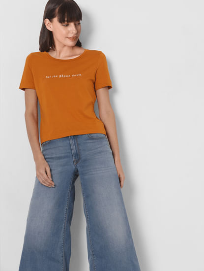 Orange Slogan Print T-shirt