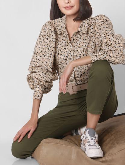 Beige Ditsy Print Organic Cotton Shirt