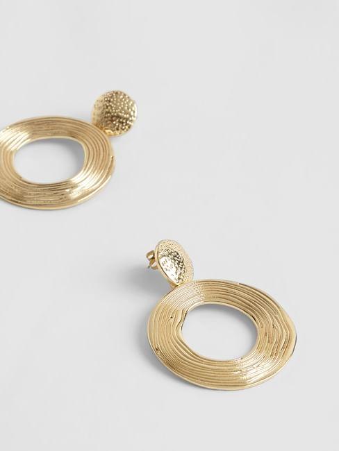 Golden Textured Drop Earrings