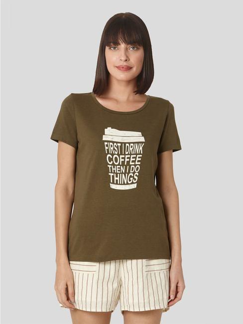 Green Slogan Print T-shirt