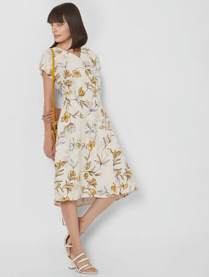 Beige Floral Overlap Midi Dress