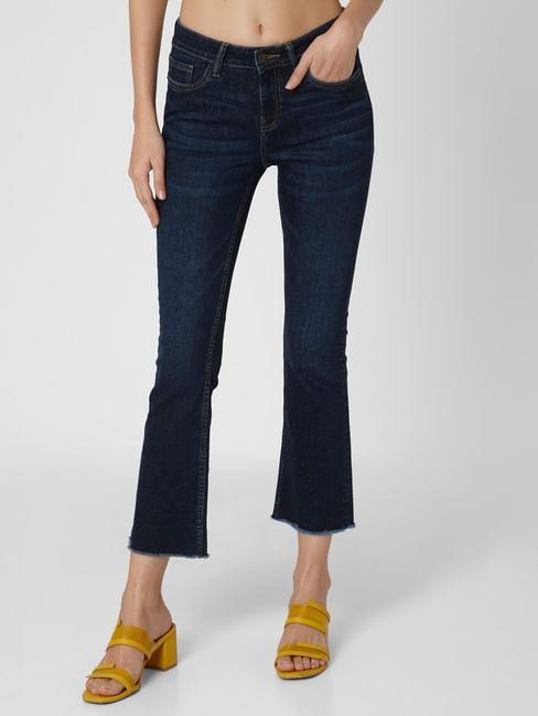 Dark Blue Mid Rise Bootcut Jeans