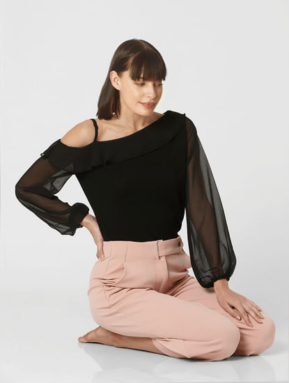 Black One Shoulder Ruffle Neck Top