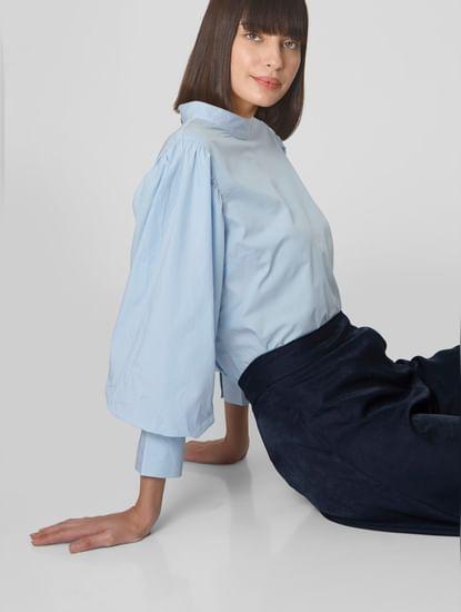 Blue Puff Sleeves Top