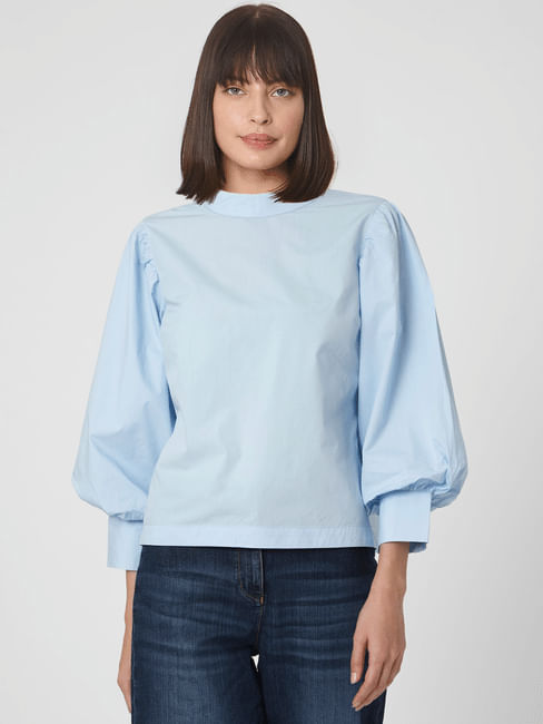 Blue Puff Sleeves Top