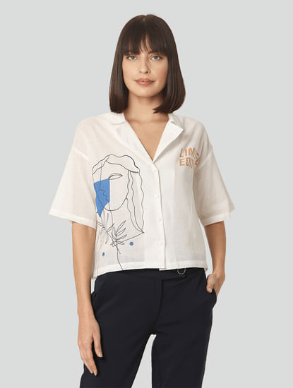 White Graphic Print Cuban Collar Shirt