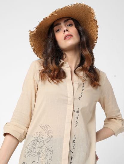 Beige Graphic Print Tunic Shirt