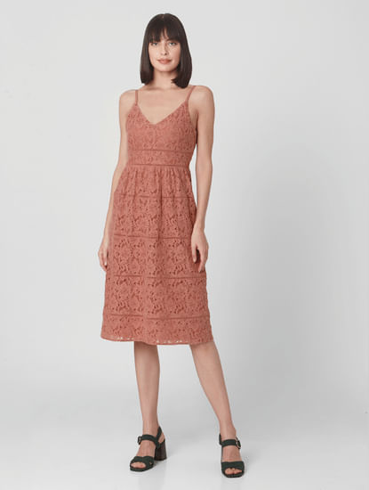 Pink Strappy Lace Midi Dress