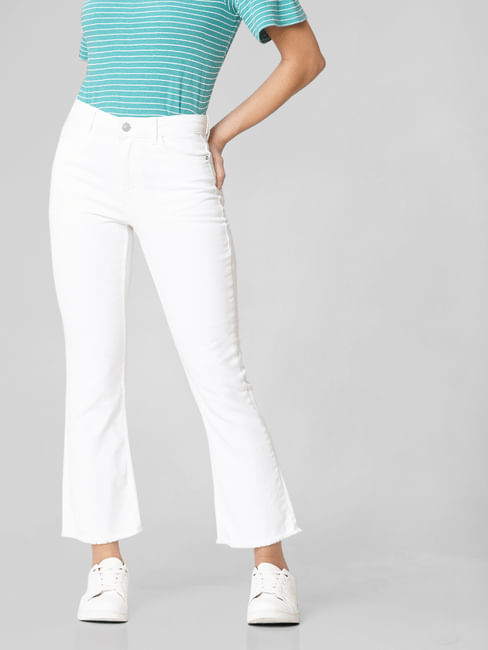 White Mid Rise Kick Flared Jeans