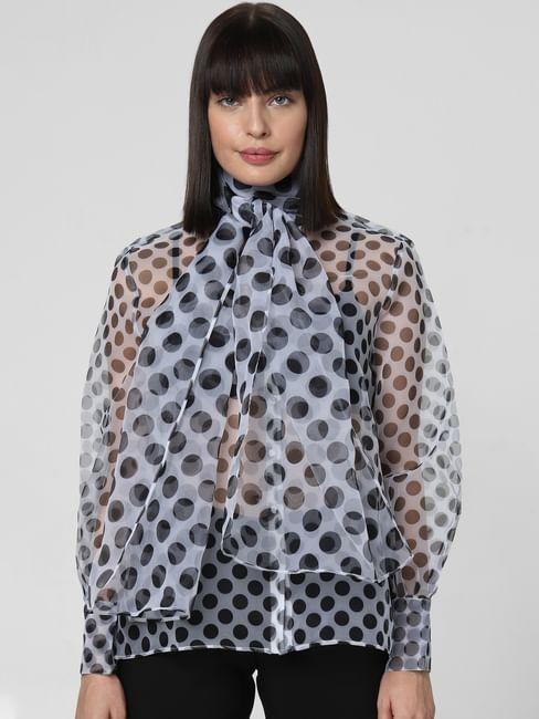White Polka Dot Organza Shirt