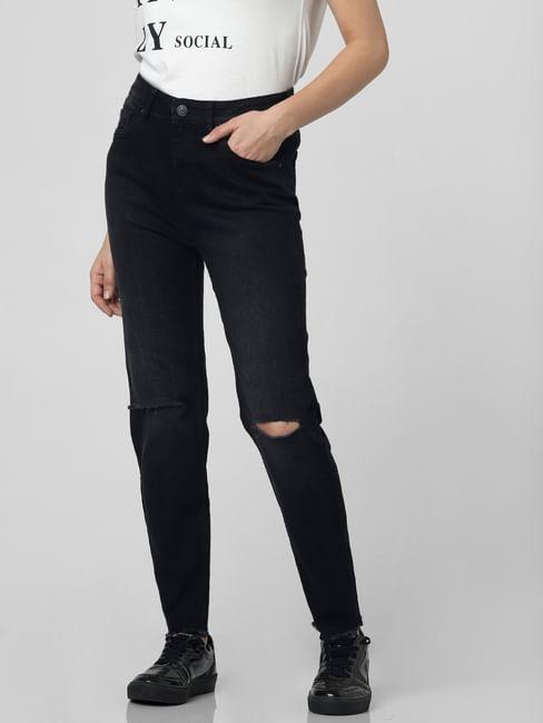 Dark Grey High Rise Knee Slit Skinny Jeans