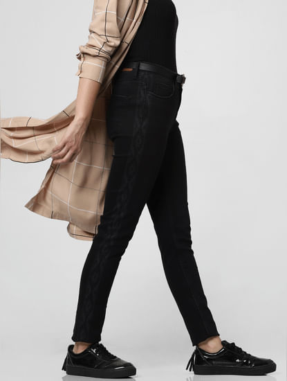 Dark Grey Mid Rise Tape Detail Skinny Jeans