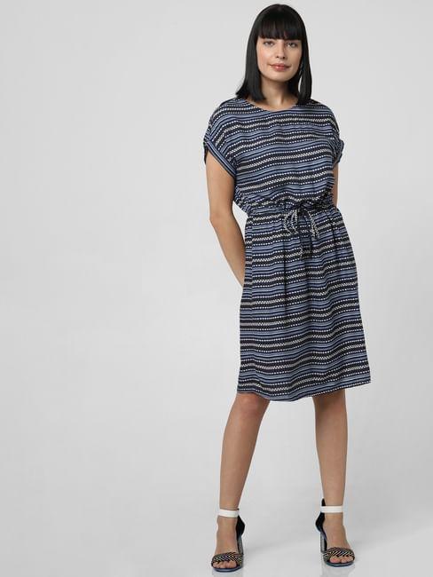 Navy Blue Printed Belted Shift Dress