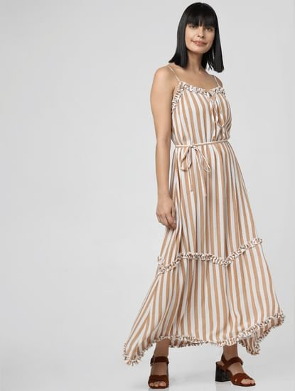 White Striped Ruffle Trim Maxi Dress