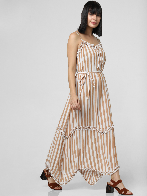 White Striped Ruffle Trim Maxi Dress