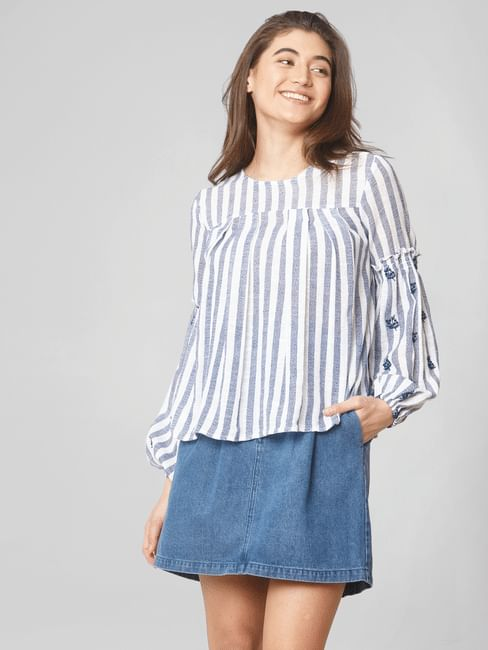 White Striped Embroidered Detail Top