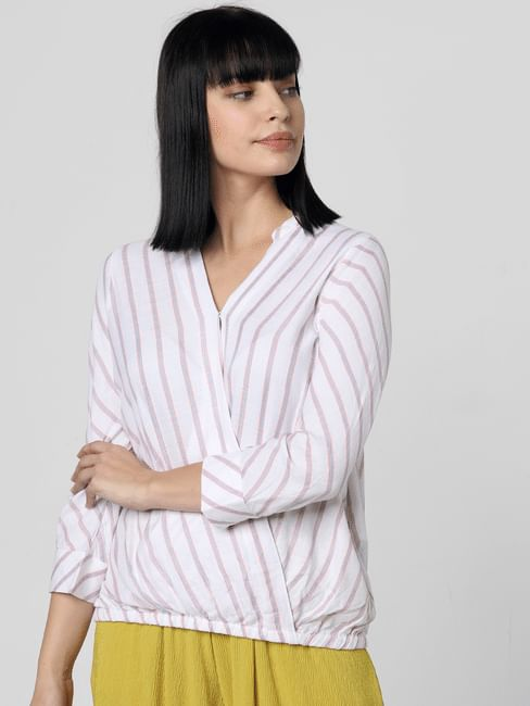 White Striped Crossover Front Top