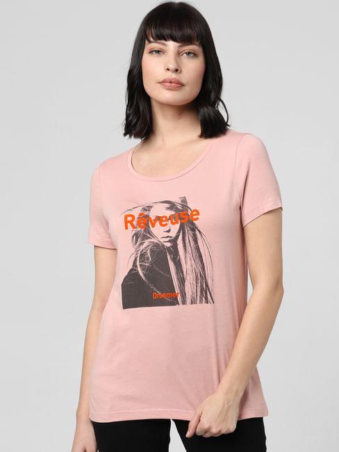 Pink Graphic Print Crew Neck T-shirt