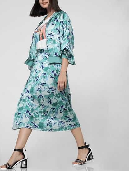 Green Abstract Print Flared Skirt