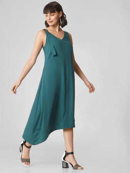 Green Asymmetric Midi Dress