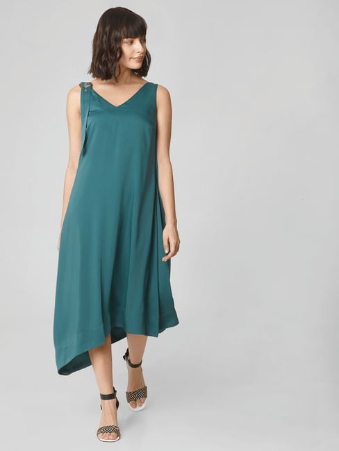 Green Asymmetric Midi Dress