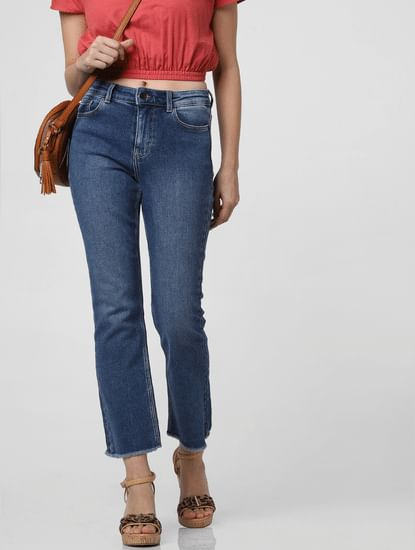 Blue Mid Rise Kick Flared Jeans