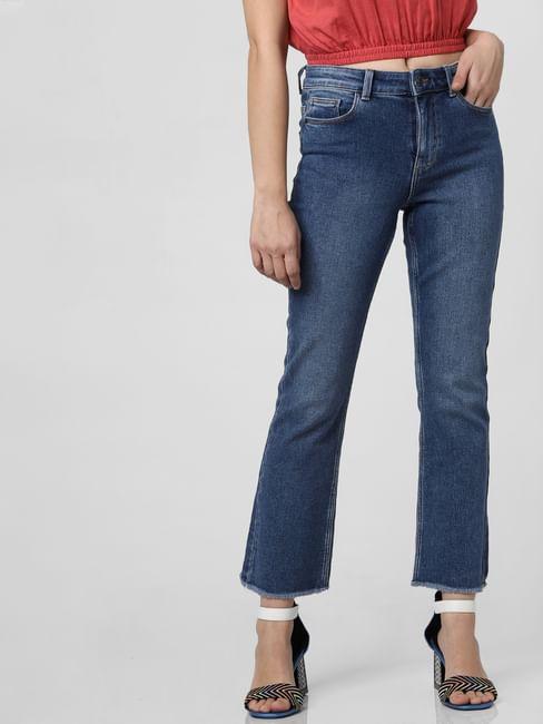 Blue Mid Rise Kick Flared Jeans