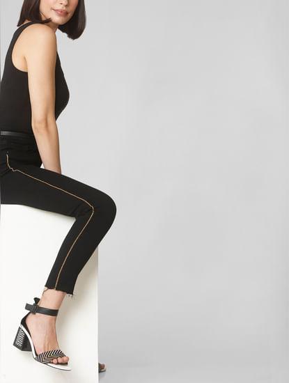 Black Mid Rise Tape Detail Skinny Fit Jeans
