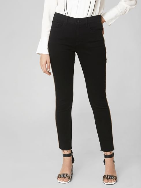 Black Mid Rise Tape Detail Skinny Fit Jeans