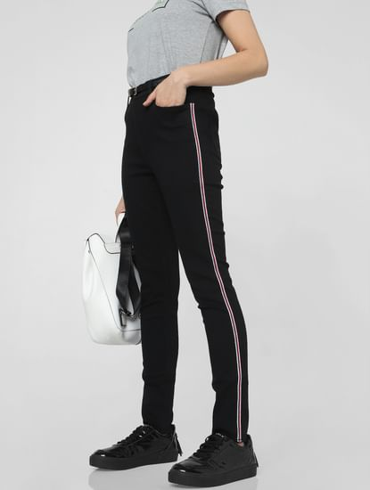 Black High Rise Tape Detail Skinny Fit Jeans