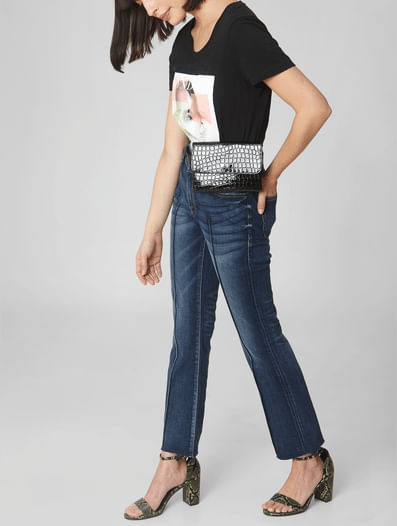 Blue Mid Rise Pin Tuck Boot Cut Jeans