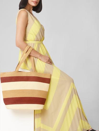Beige Colourblocked Straw Bag