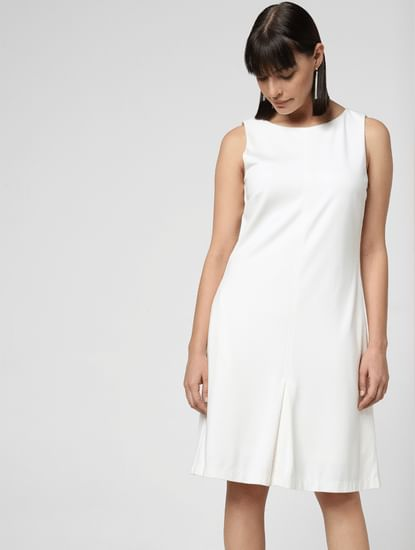 White Buttoned Back Shift Dress
