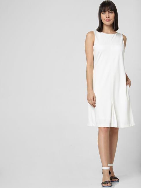 White Buttoned Back Shift Dress