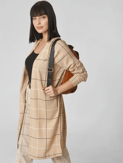Beige Check Cardigan