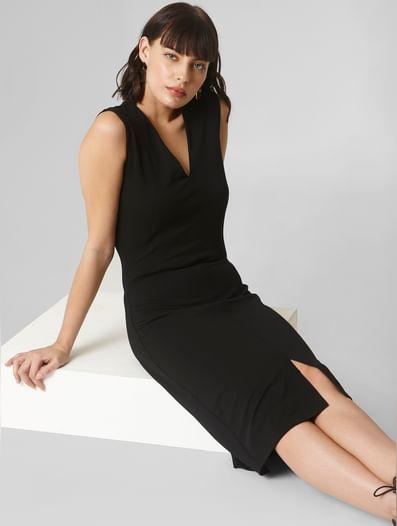 Black V Neck Bodycon Dress