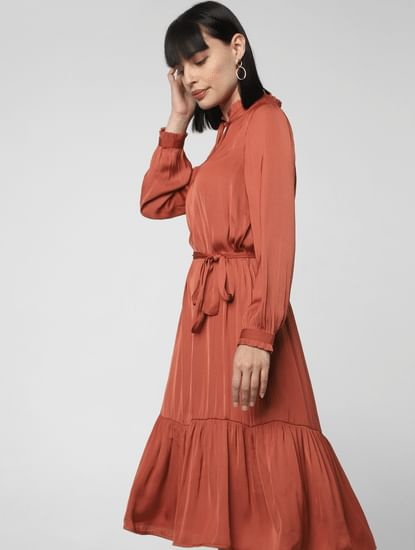 Rust Flounce Midi Dress