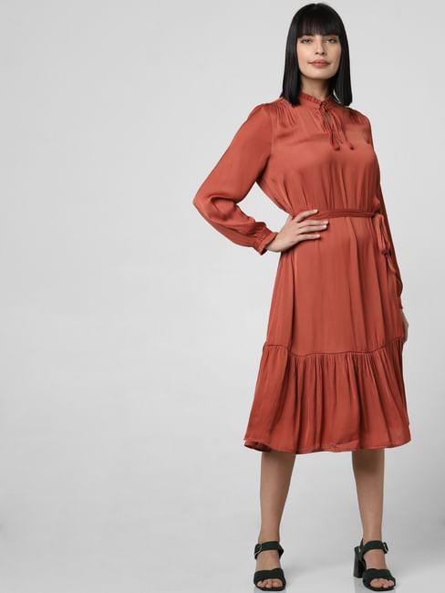Rust Flounce Midi Dress